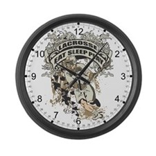 Eat, Sleep, Play Lacrosse Large Wall Clock