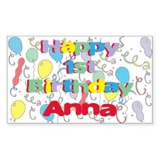 Anna's 1st Birthday Rectangle Decal