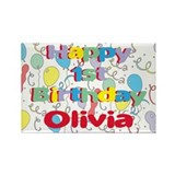 Olivia's 1st Birthday Rectangle Magnet