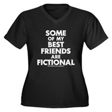 Fictional Friends Women's Plus Size V-Neck Dark T-
