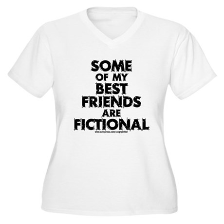 Fictional Friends Women's Plus Size V-Neck T-Shirt