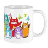 Colorful Kitty Cats & Butterflies Coffee Mug