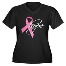 Breast Cancer Ribbon Hope Women's Plus Size V-Neck