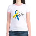 Down Syndrome Ribbon Hope Jr. Ringer T-Shirt