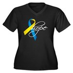 Down Syndrome Ribbon Hope Women's Plus Size V-Neck