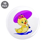 "Baby Girl Duck 3.5"" Button (10 pack)"