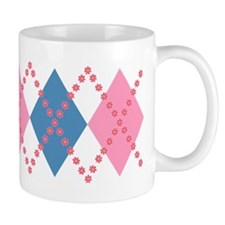 Cute Pink Blue Argyle Mug