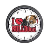I Love Bulldogs Wall Clock