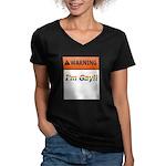 Warning I'm Gay Women's V-Neck Dark T-Shirt