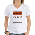 Warning I'm Gay Women's V-Neck T-Shirt