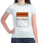 Warning I'm Gay Jr. Ringer T-Shirt