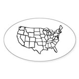 US Map Oval Decal