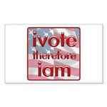 Think, Vote, Be with this Rectangle Sticker 10 pk