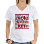Think, Vote, Be with this Women's V-Neck T-Shirt
