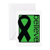 Green (Believe) Ribbon Greeting Cards (Pk of 20)