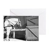 Horse by Barn Greeting Card