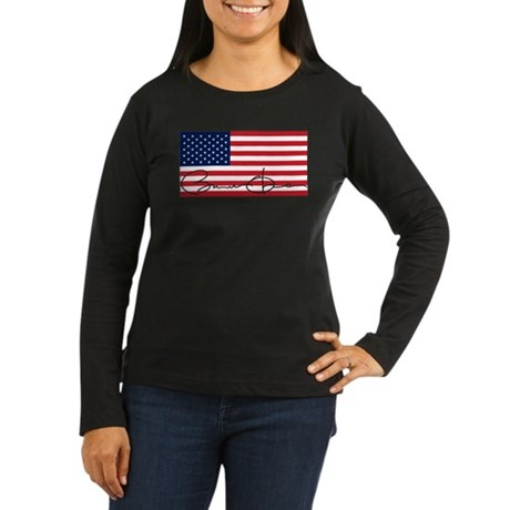 Obama Flag Signature Women's Long Sleeve Dark T-Sh