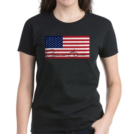 Obama Flag Signature Women's Dark T-Shirt
