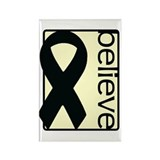 Cream (Believe) Ribbon Rectangle Magnet (100 pack)