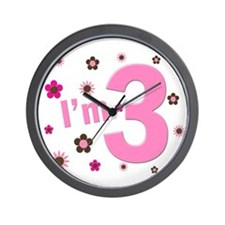 """I'm 3"" Pink & Brown Flowers Wall Clock"