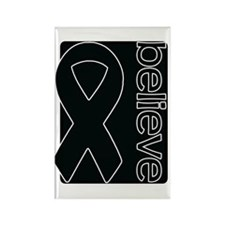 Black (Believe) Ribbon Rectangle Magnet (100 pack)