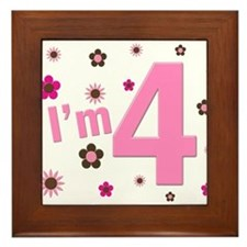 """I'm 4"" Pink & Brown Flowers Framed Tile"