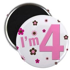 """I'm 4"" Pink & Brown Flowers 2.25"" Magnet (10 pack"