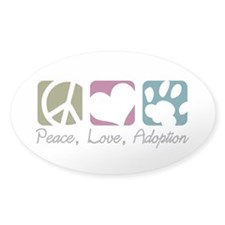 Peace, Love, Adoption Oval Sticker (10 pk)
