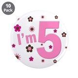 """I'm 5"" Pink & Brown Flowers 3.5"" Button (10 pack)"