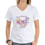Shuangyashan China Women's V-Neck T-Shirt