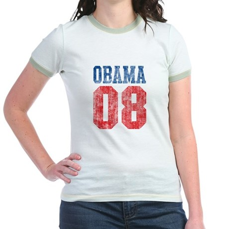 Obama 08 (red and blue) Jr. Ringer T-Shirt
