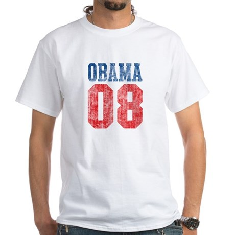 Obama 08 (red and blue) White T-Shirt