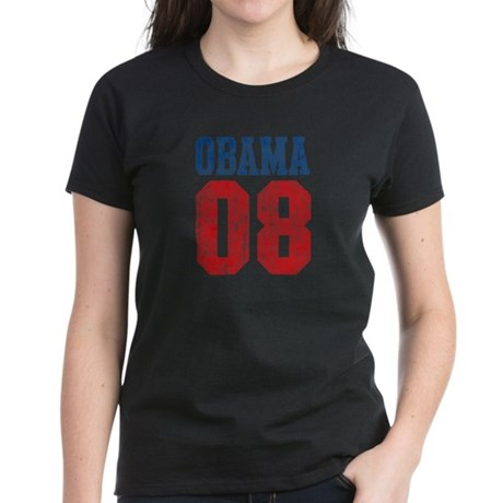 Obama 08 (red and blue) Women's Dark T-Shirt