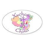 Xuchang China Map Oval Sticker (10 pk)
