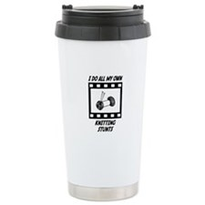 Knitting Stunts Ceramic Travel Mug