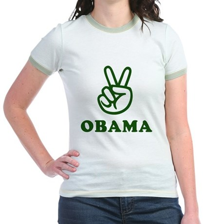 Obama for Peace Jr. Ringer T-Shirt