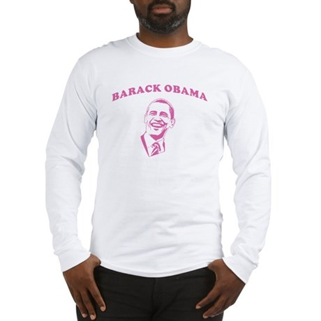 Pink Barack Obama Long Sleeve T-Shirt