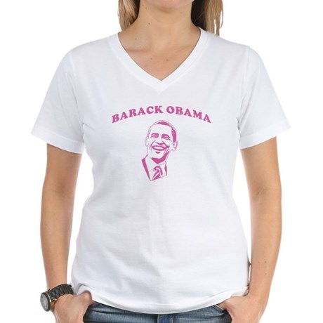 Pink Barack Obama Women's V-Neck T-Shirt