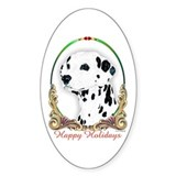 Dalmatian Happy Holiday Oval Decal