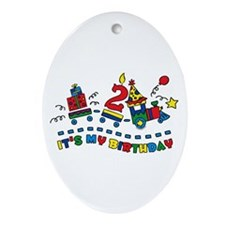 Choo Choo Second Birthday Oval Ornament
