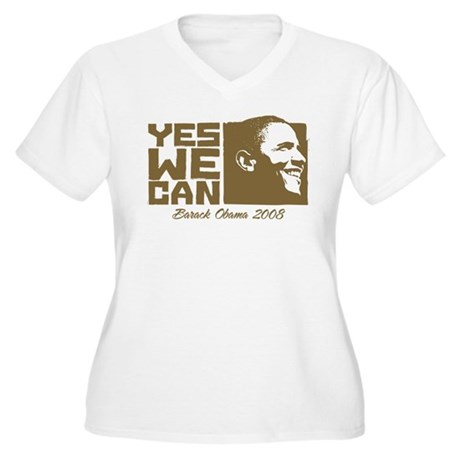 Yes We Can (brown) Women's Plus Size V-Neck T-Shir