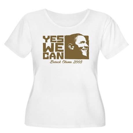 Yes We Can (brown) Women's Plus Size Scoop Neck T-