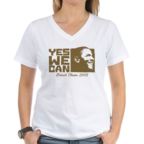 Yes We Can (brown) Women's V-Neck T-Shirt