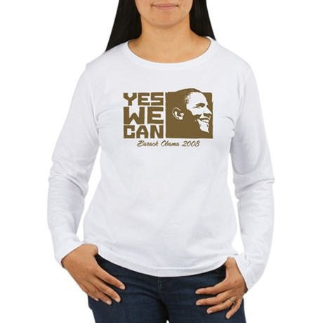 Yes We Can (brown) Women's Long Sleeve T-Shirt