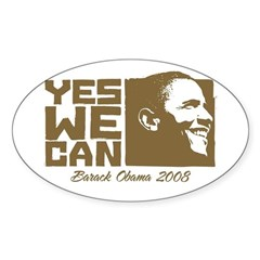 Yes We Can (brown) Oval Sticker