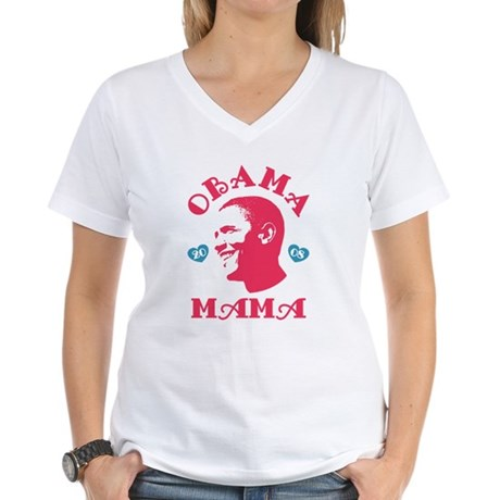 Obama Mama Womens V-Neck T-Shirt