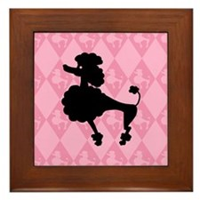 Poodle in Pink Framed Tile