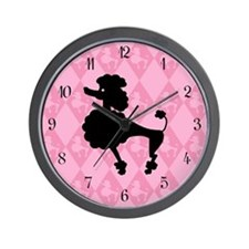 Poodle in Pink Wall Clock