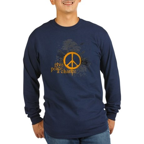 Give Peace Scene - Orange Long Sleeve Dark T-Shirt