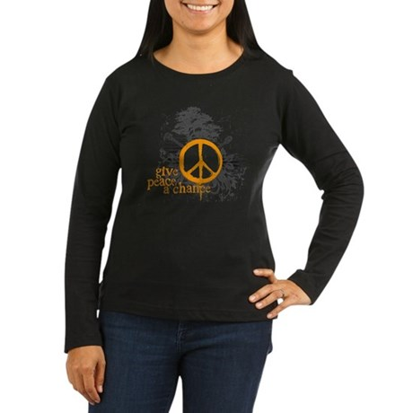 Give Peace Scene - Orange Women's Long Sleeve Dark